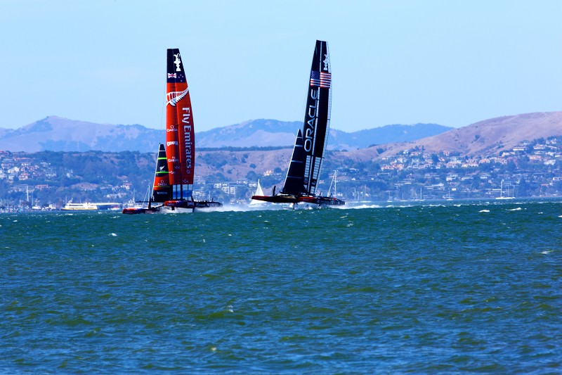 America's Cup finals race 12 starting with Team Emirates & Team Oracle