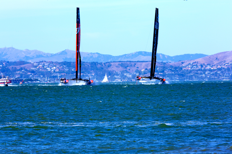 America's Cup finals race 12 started with Team Oracle close to Team Emirates