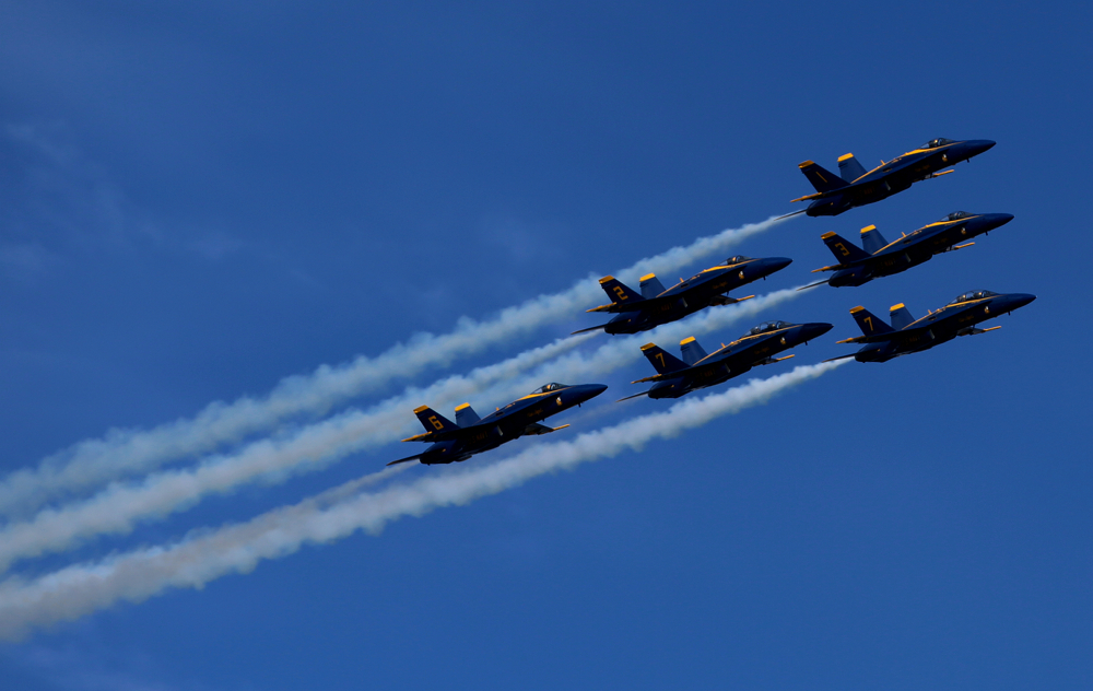 Blue Angels flying in formation at Fleetweek 2012 in San Francisco