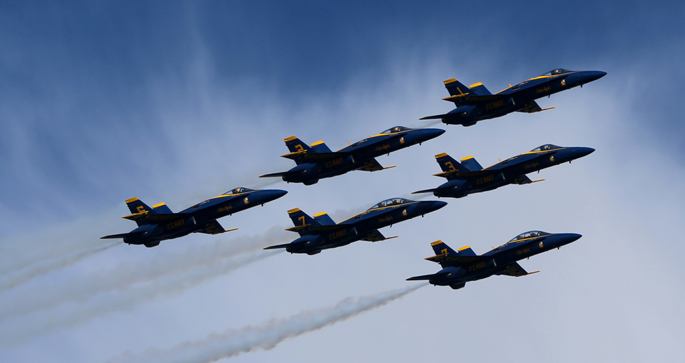 Close up of the Blue Angels flying in formation