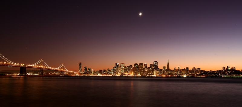 SF skyline sunset with moon small San Francisco Skyline Sunset
