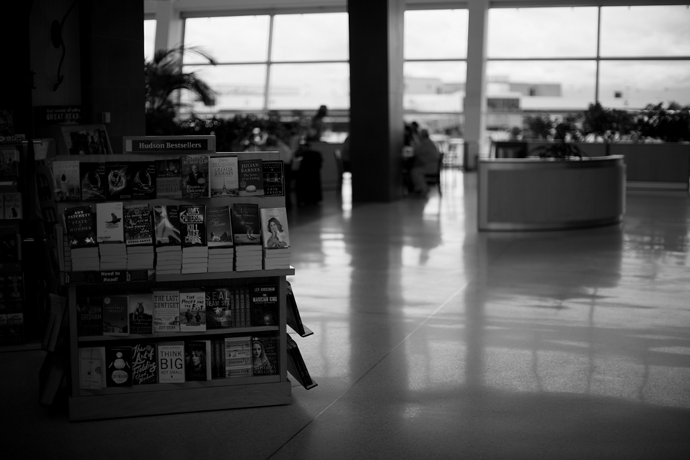Seattle Tacoma airport bookstand small Seattle Tacoma Airport Sea Tac Black & White