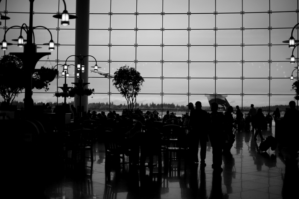 Seattle Tacoma airport foodcourt backlight small Seattle Tacoma Airport Sea Tac Black & White