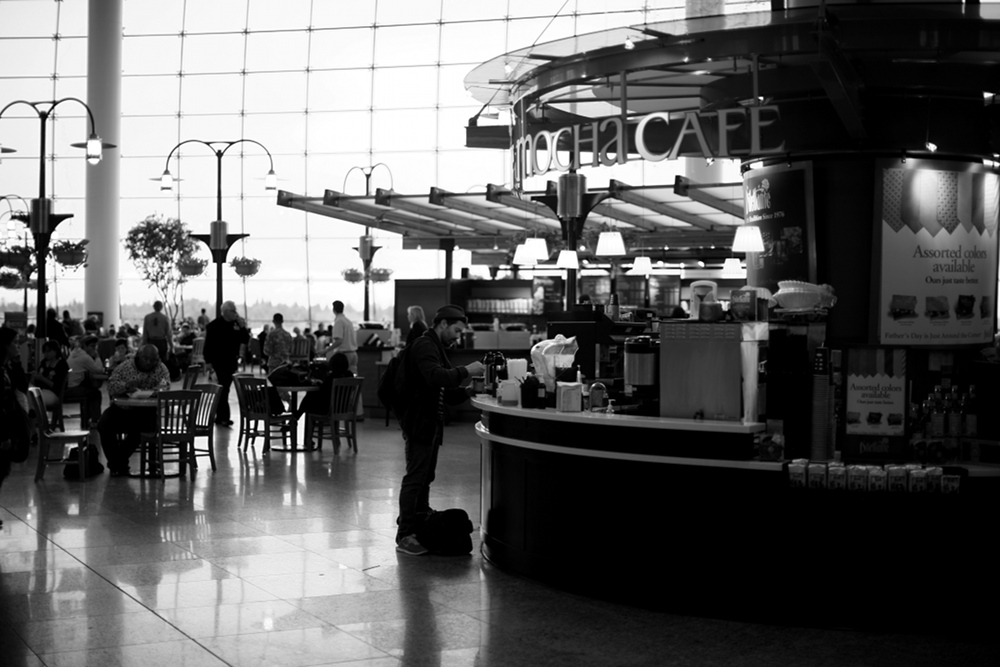 Seattle Tacoma airport foodcourt small Seattle Tacoma Airport Sea Tac Black & White