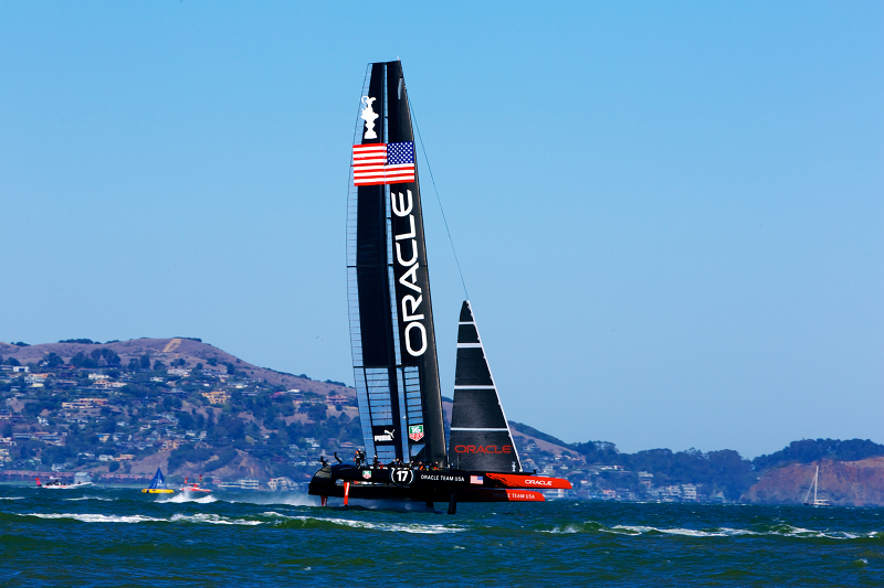Team Oracle racing in the America's Cup final race 11