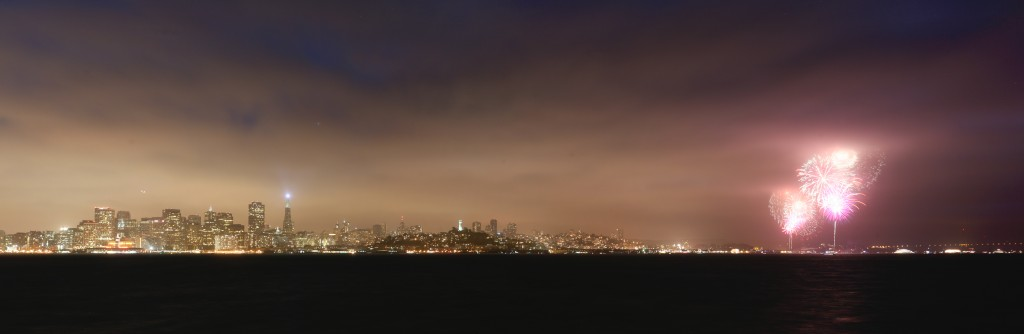 Panorama shot of the Fireworks at 4th of July 2012 for Independence day from Treasure Island looking at the Skyline of San Francisco