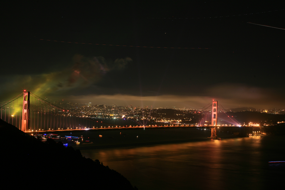The Golden Gate Bridge right after the fireworks for the 75th birthday of the bridge
