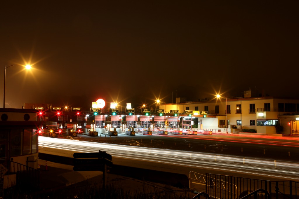 Golden Gate Bridge Toll Plaza at night