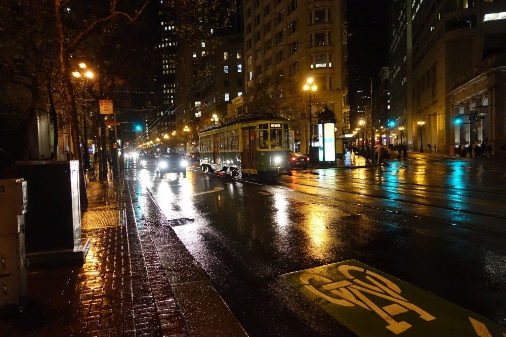 Rainy Market street in San Francisco at night