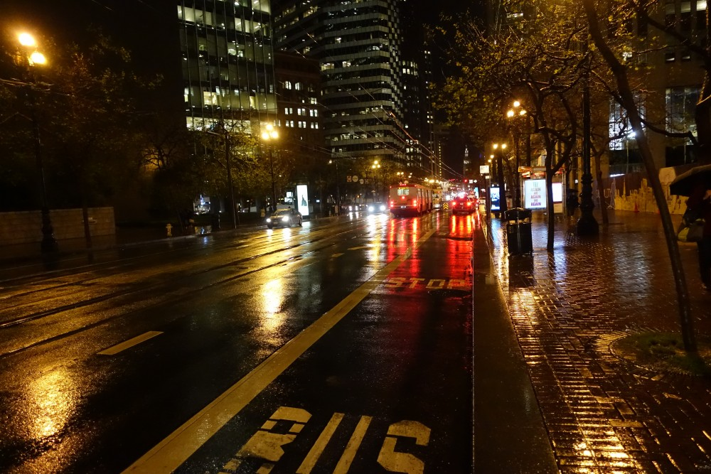 Rainy Market street in San Francisco at night